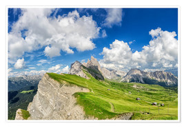 Premium poster  Alps panorama on Seceda with Mount Geisler - Dieter Meyrl