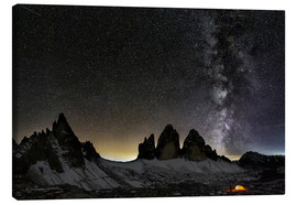 Canvas  Lonely Tent under Milky way over Tre cime - Dolomites - Dieter Meyrl