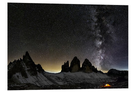 Foam board print  Lonely Tent under Milky way over Tre cime - Dolomites - Dieter Meyrl