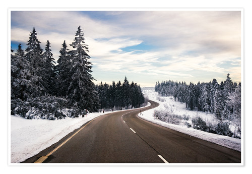 Poster Curvy road in winter in the Black Forest