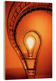 Wood print  Light bulb in staircase - Dennis Fischer