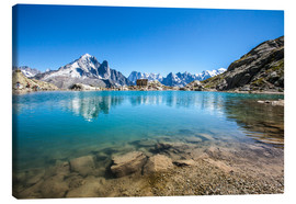 Canvas print  Mont Blanc is reflected in Lacs des Chéserys, Chamonix, France - Roberto Sysa Moiola