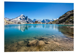 Foam board print  Mont Blanc is reflected in Lacs des Chéserys, Chamonix, France - Roberto Sysa Moiola