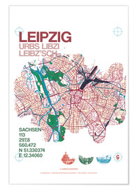 Premium poster  Leipzig map city motive - campus graphics