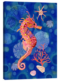 Canvas print  Seahorse in the blue - Janet Broxon