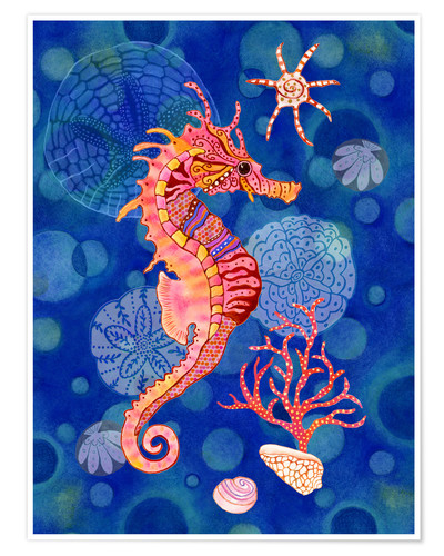 Premium poster Seahorse in the blue