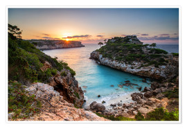 Premium poster Sunrise with beautiful bay, Majorca, Spain