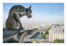 Premium poster Gargoyle statue and Eiffel tower, Paris, France