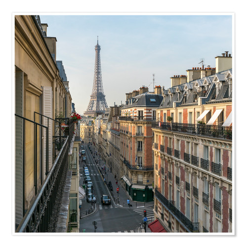 Premium poster Historic house facades and Eiffel Tower in Paris, France