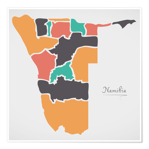 Premium poster Namibia map modern abstract with round shapes