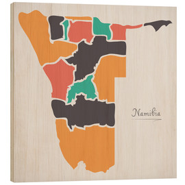 Wood print  Namibia map modern abstract with round shapes - Ingo Menhard