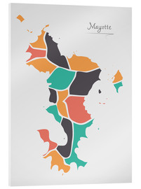Acrylic print  Mayotte map modern abstract with round shapes - Ingo Menhard