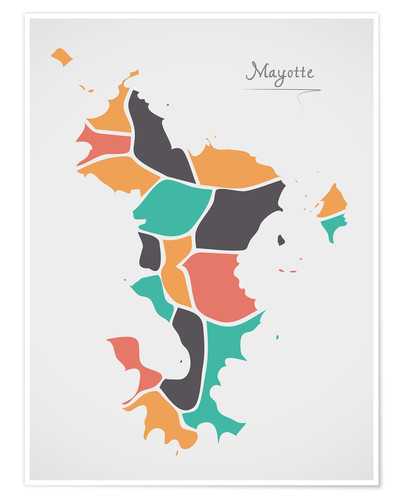 Premium poster Mayotte map modern abstract with round shapes
