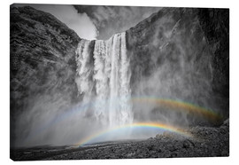 Canvas  ICELAND Skogafoss with a double rainbow - Melanie Viola