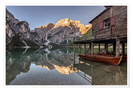 Premium poster Braies Lake South Tyrol Italy