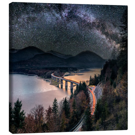 Canvas print  Milky Way at Lake sylvester - Sylvensteinspeicher at Autmun - Dieter Meyrl