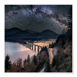 Premium poster  Milky Way at Lake sylvester - Sylvensteinspeicher at Autmun - Dieter Meyrl