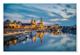Premium poster  Old Town Dresden at night - Sabine Wagner