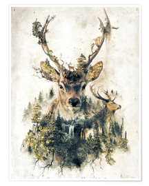 Poster Deer Nature Surrealism