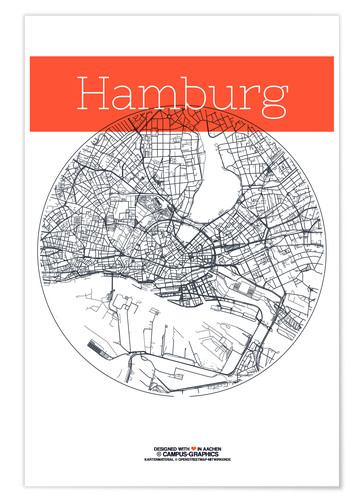 Premium poster Hamburg map circle