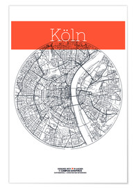 Premium poster Cologne city circle
