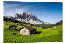 Acrylic print  Alpine hut, Caseril Alm, Funes Valley, South Tyrol, Italy - Roberto Sysa Moiola