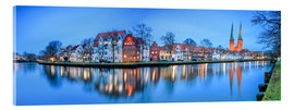 Acrylic print  Panoramic of Lubeck reflected in river Trave, Germany - Roberto Sysa Moiola