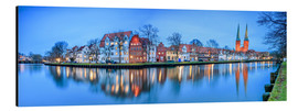 Aluminium print  Panoramic of Lubeck reflected in river Trave, Germany - Roberto Sysa Moiola