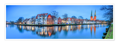 Premium poster Panoramic of Lubeck reflected in river Trave, Germany