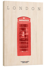 Wood print  City of London Telephone Booth - campus graphics
