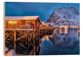 Wood print  Dusk on typical Rorbu, Reine, Norway - Roberto Sysa Moiola