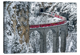 Canvas  Bernina Express Train, Filisur, Switzerland - Roberto Sysa Moiola