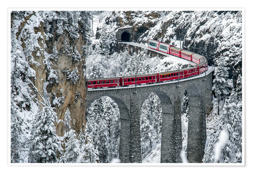 Premium poster Bernina Express Train, Filisur, Switzerland