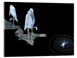 Acrylic print  Three Storks and a Frog in a Pond - Jean Dunand