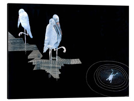 Aluminium print  Three Storks and a Frog in a Pond - Jean Dunand