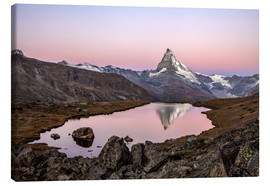 Canvas print  Matterhorn reflected in Lake Stellisee, Switzerland - Roberto Sysa Moiola