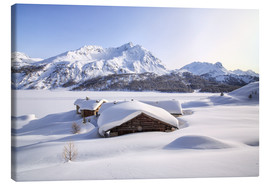 Canvas  Alpine huts covered with snow, Splüga, Switzerland - Roberto Sysa Moiola