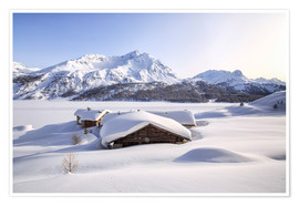Premium poster  Alpine huts covered with snow, Splüga, Switzerland - Roberto Sysa Moiola