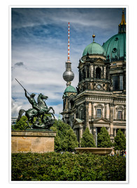 Premium poster Berlin Cathedral in front of TV tower