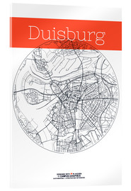 Acrylic glass  Duisburg map city black and white - campus graphics