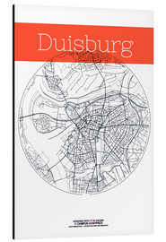 Alu-Dibond  Duisburg map city black and white - campus graphics