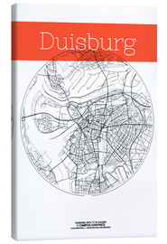 Canvas  Duisburg map city black and white - campus graphics