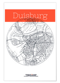 Premium poster  Duisburg map circle - campus graphics