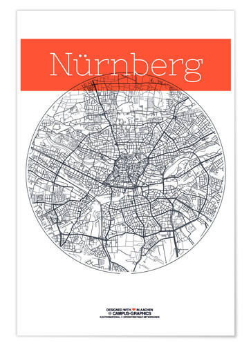 campus graphics Nuremberg map city black and white Poster | Posterlounge