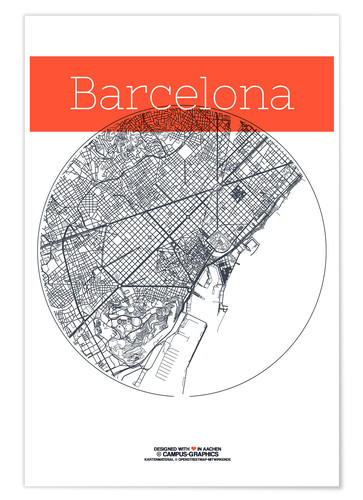 Premium poster Barcelona map circle