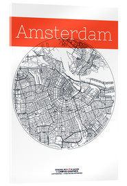 Acrylic glass  Amsterdam map city black and white - campus graphics