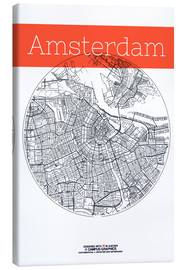 Canvas  Amsterdam map city black and white - campus graphics