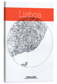 Canvas  Lisbon map city black and white - campus graphics