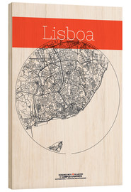 Wood  Lisbon map city black and white - campus graphics