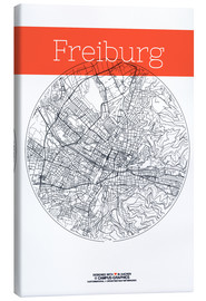 Canvas  Freiburg Card City Black and White - campus graphics